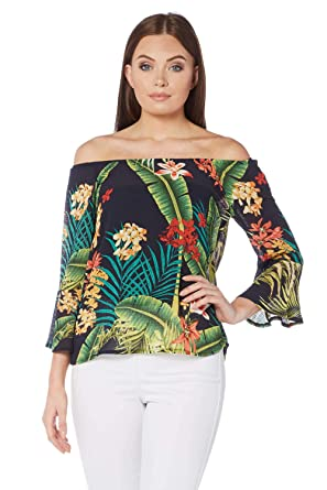 433c793150a1b Roman Originals Women Tropical Print Bardot Top - Ladies 3 4 Sleeve Summer  Casual Weekend Holiday Tops - Navy Blue  Amazon.co.uk  Clothing