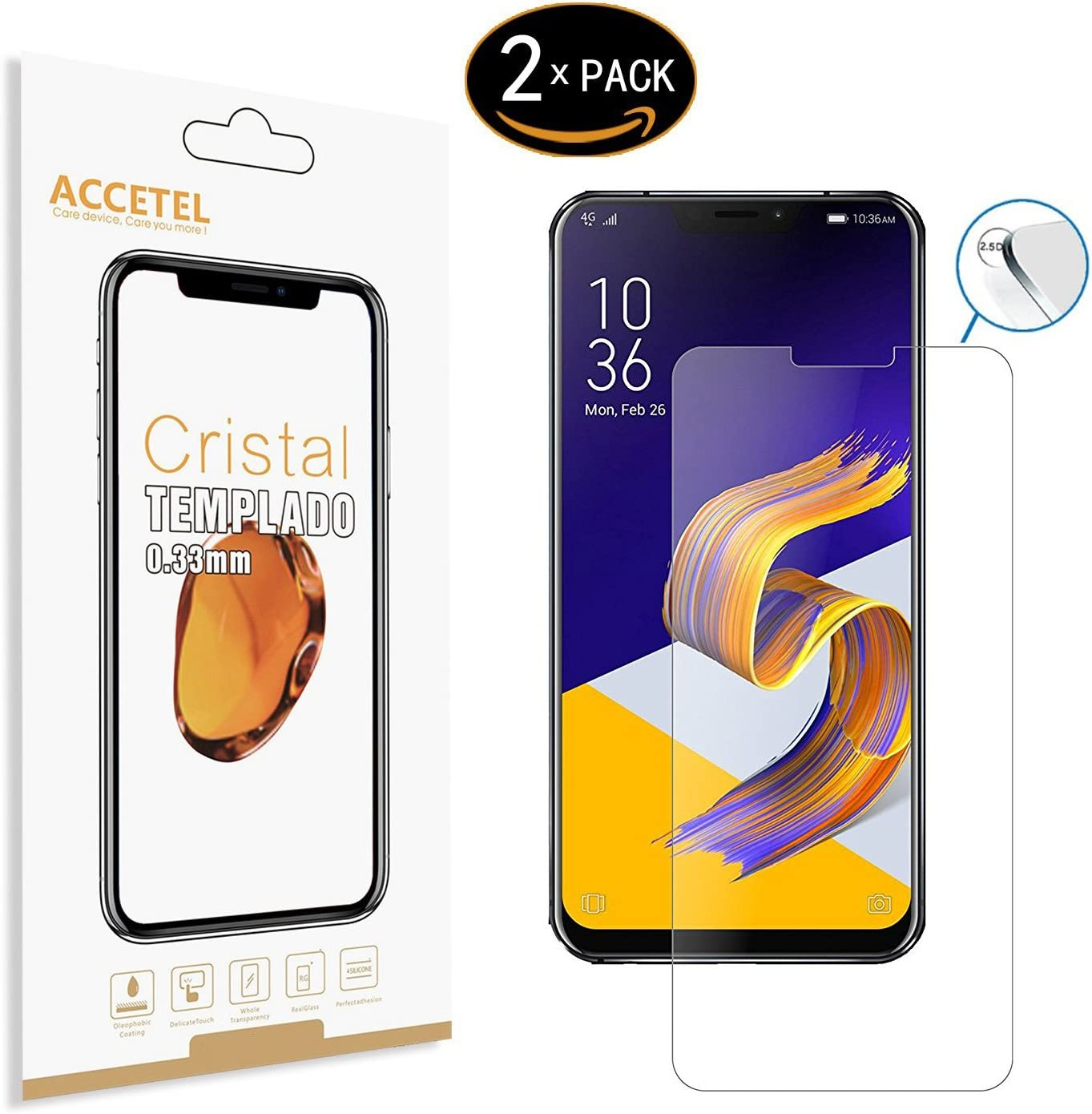 Accetel Protector de Pantalla Compatible con ASUS ZenFone 5Z ZS620KL Protector Cristal Vidrio Templado para ASUS ZenFone 5Z ZS620KL 6.2 Pulgadas Transparente 3-Pack: Amazon.es: Electrónica