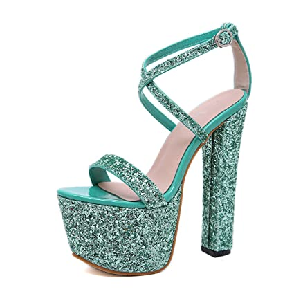 8c1315ad0d54 MKHDD Women Sexy Sequined Platform Sandals Gladiator Ankle Buckle Strap  Ultra Very High Heel 17.5CM
