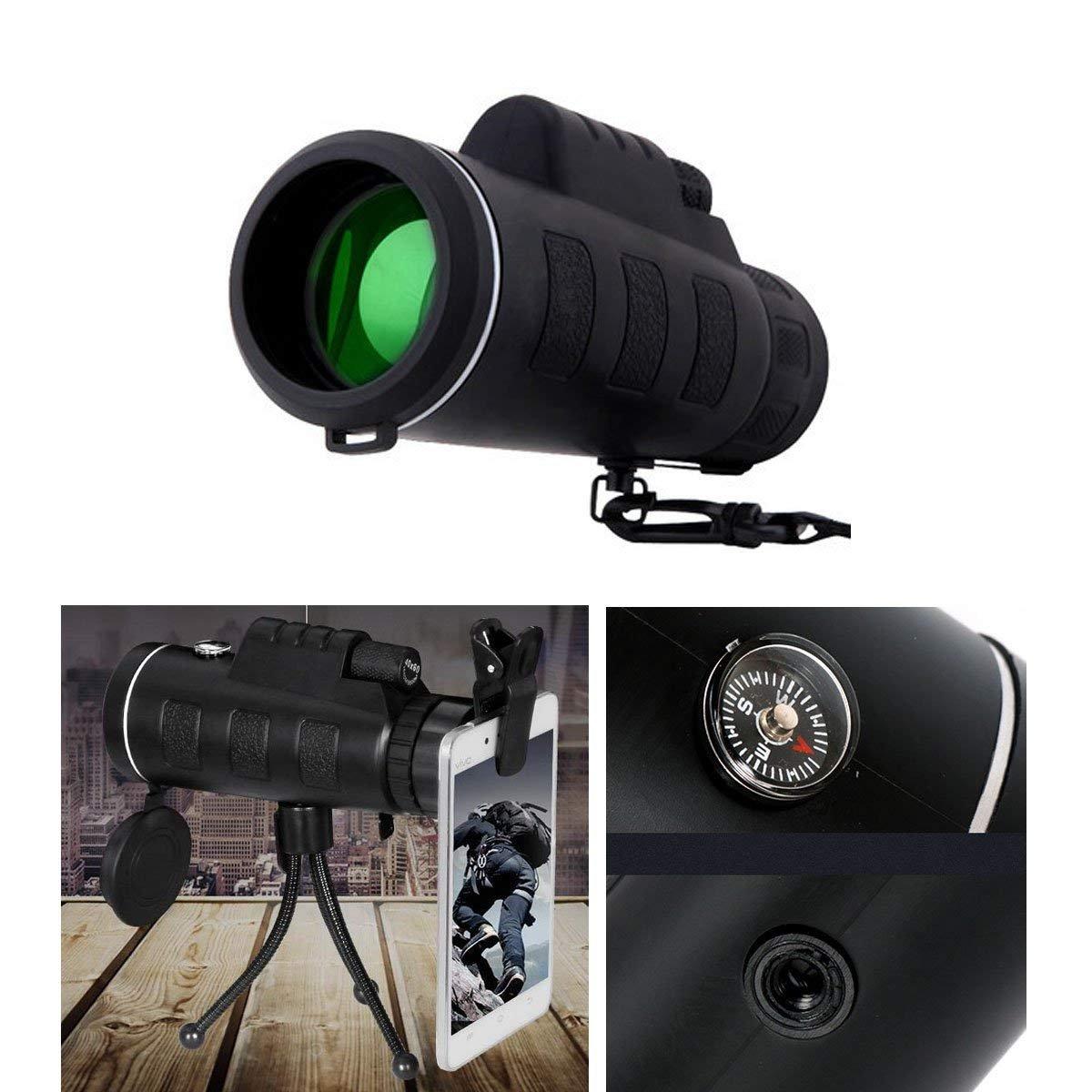 Turismo Acampada y Concierto Telescopio Monocular 40 X 60 HD Zoom /Óptico Telescopio Impermeable y a Prueba de Niebla para la Observaci/ón de P/ájaros Caza