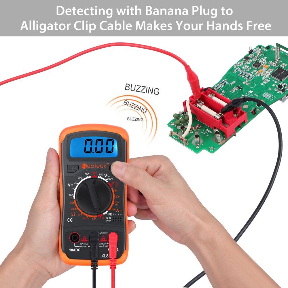 Neoteck Tester Digitale Tascabile Multimetro Voltmetro Amperometro Ohmmetro Misuratore di Tensione CA//CC Voltaggio Resistenza Corrente per Diodi Transistor con LCD Retroilluminato
