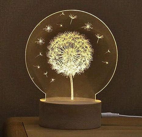 3D Noche Luz,SUAVER Lámparas de ilusión 3D USB lámpara de ...