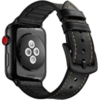 Elehome Compatible with Apple Watch Band 38mm 40mm, Sweatproof Genuine Leather and Rubber Hybrid Band Strap Compatible with iWatch Series 1 2 3 4 5 (38mm 40mm) Sport and Edition (38mm / 40mm, Black)