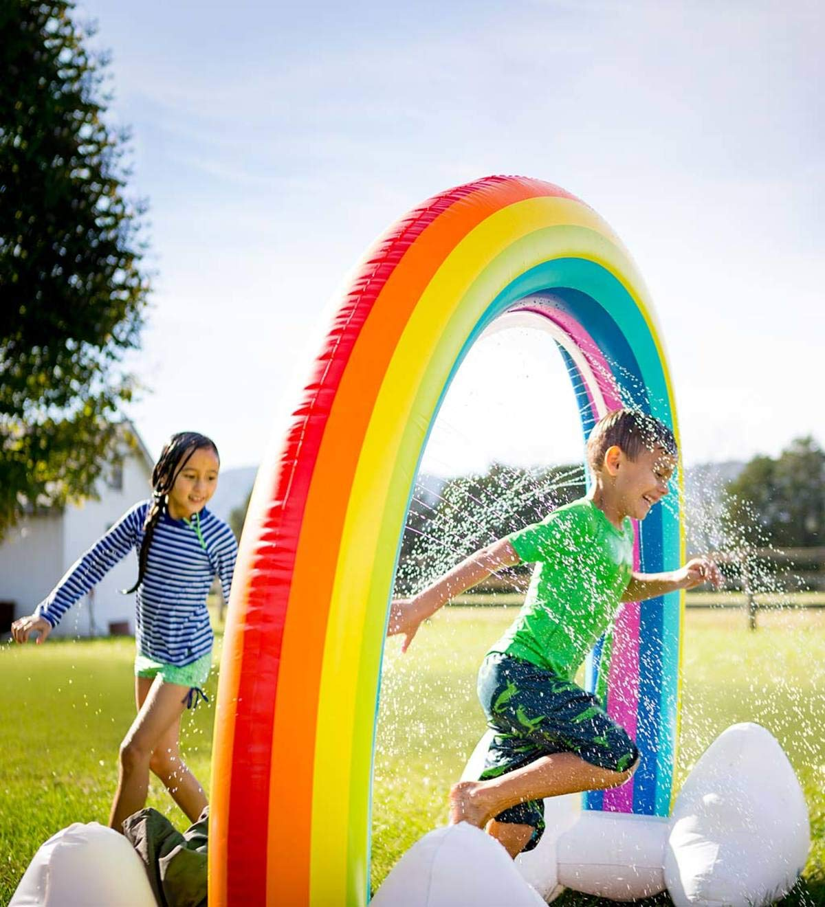 HearthSong® Giant Inflatable Rainbow Arch Sprinkler - Approx 93 L x 37 W x 67 H When inflated by HearthSong®