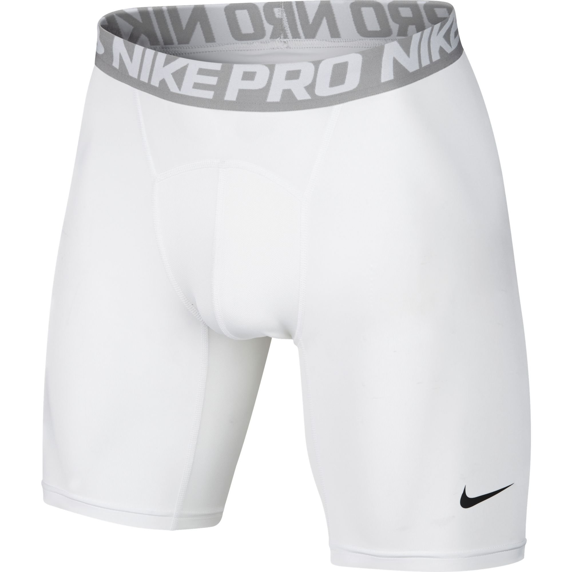 NIKE Men's Pro Shorts, White/Matte Silver/Black, Large