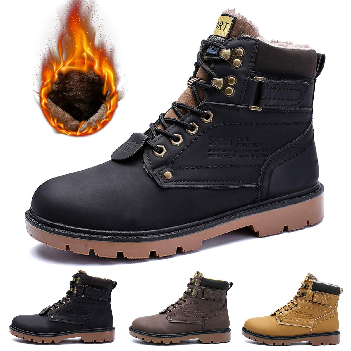 bf23b2cc11e gracosy Mens Ankle Boots Winter Snow Warm Boots Fur Lined Lace Up Comfy  Ankle Casual Boots Fashion Men Flat Martin Boots Outdoor Anti Slip High Top  Work ...