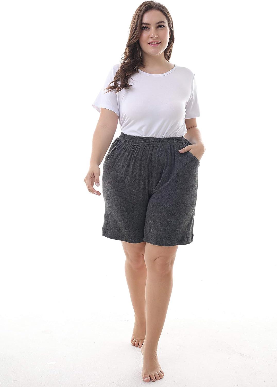 Elasticizzati ZERDOCEAN Taglie Forti Corta Pigiami Pantaloni per Donna Bottoms Casuale con Tasche.