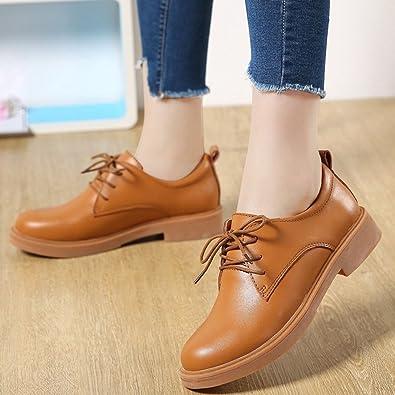 Kotzeb Damen Faux Leder Oxfords Schuhe Schnürer Platform Pumps Blockabsatz Freizeitschuh Mädchen Schwarz 36 rotQ1a