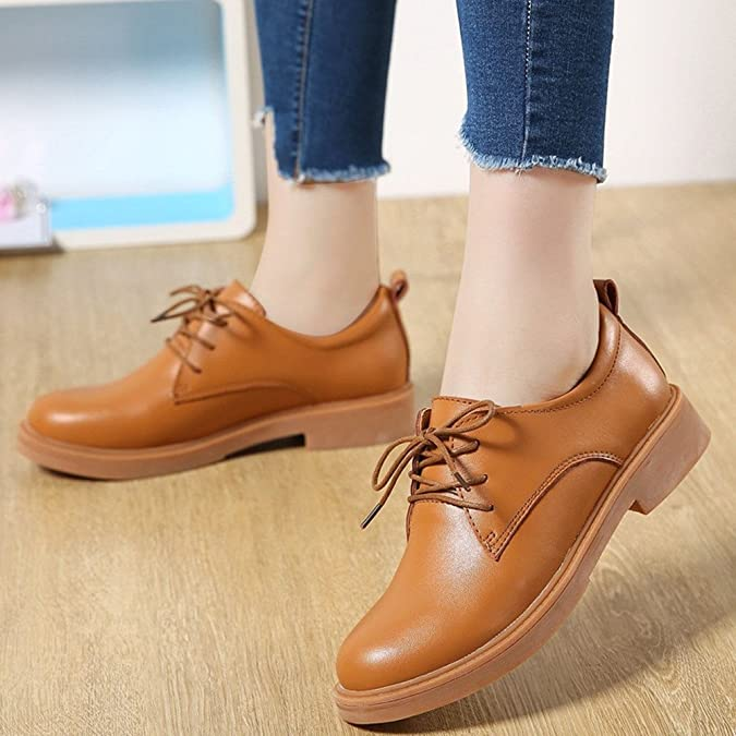 Damen Faux Leder Oxfords Schuhe Schnürer Platform Pumps Blockabsatz Freizeitschuh Mädchen Rot 38 jnNgdDB
