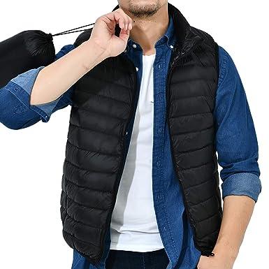 498ec063290 Logeeyar Men s Women s Water-Resistant Lightweight Packable Down Vest  Outdoor Puffer Vest(Black-