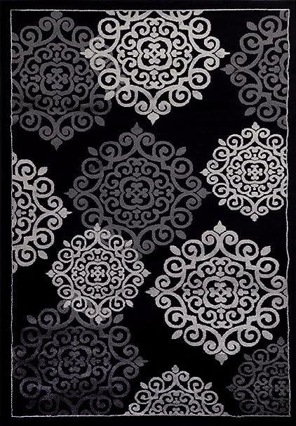 Lovely 776 Black Gray Grey 5u00272x7u00272 Area Rugs Carpet