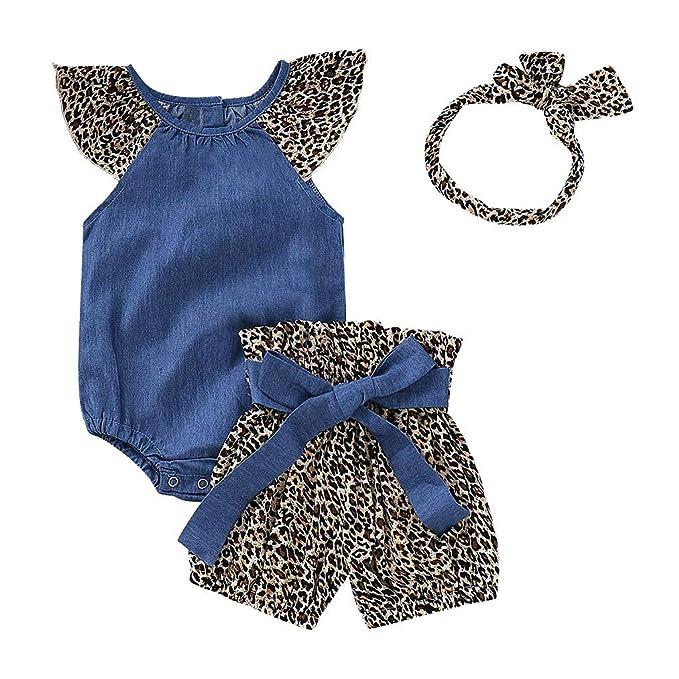 3PCS Newborn Baby Girl Outfit Clothes Tops Romper+Leopard Shorts Pants Set