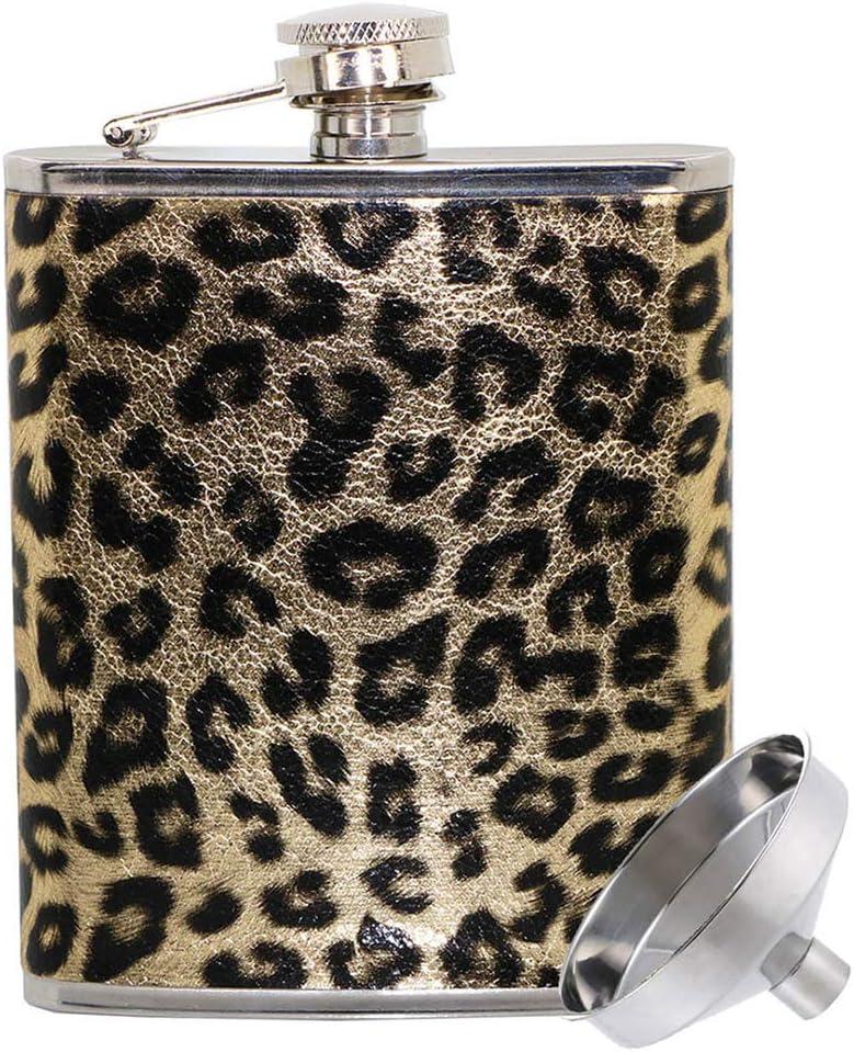 Women Liquor Flasks Leopard Funny-Leakproof Leopard,7oz Stainless Steel Wine-Hip-Flask with Funnel 7oz