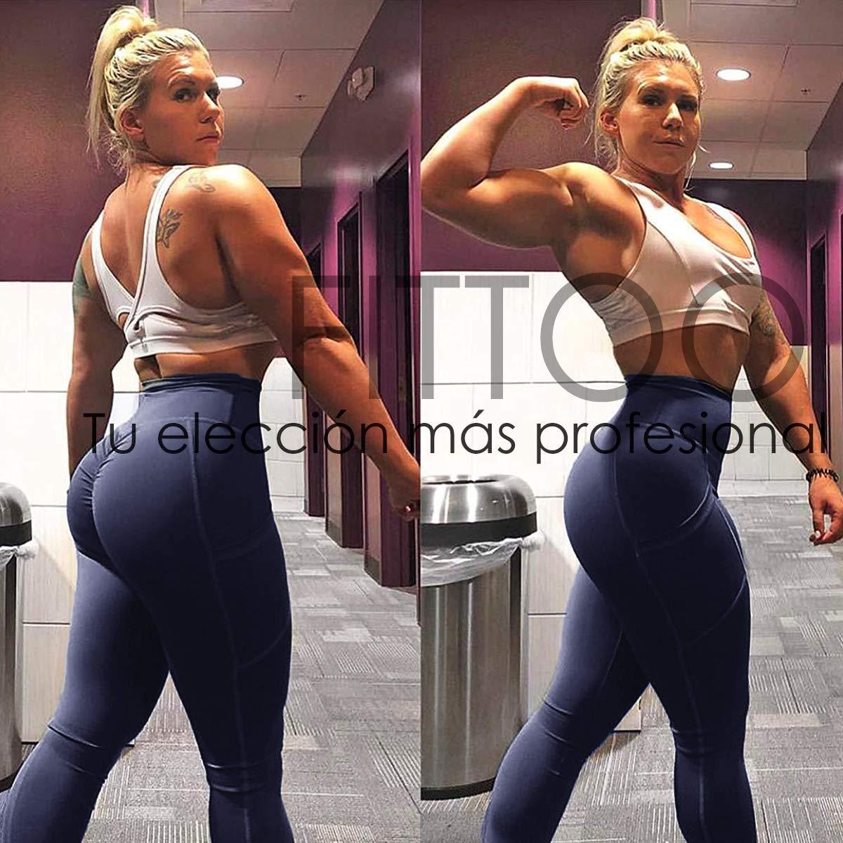 FITTOO Mallas Leggings Mujer Pantalones Deportivos Yoga Alta Cintura El/ásticos y Transpirables 2050 Largo-Azul M