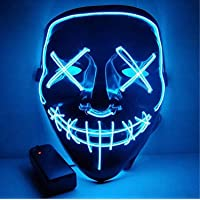 Moonideal Halloween Light Up Mask EL Wire Scary Mask for Halloween Festival Party Sound Induction Twinkling with Music…