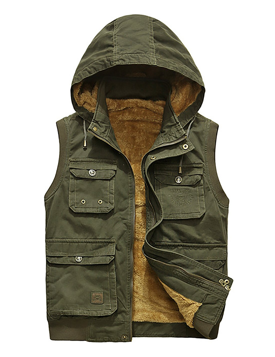 Gihuo Men's Outdoor Leisure Pockets Fish Vest Winter Thick Fleeced Waistcoat (L, Army Green)