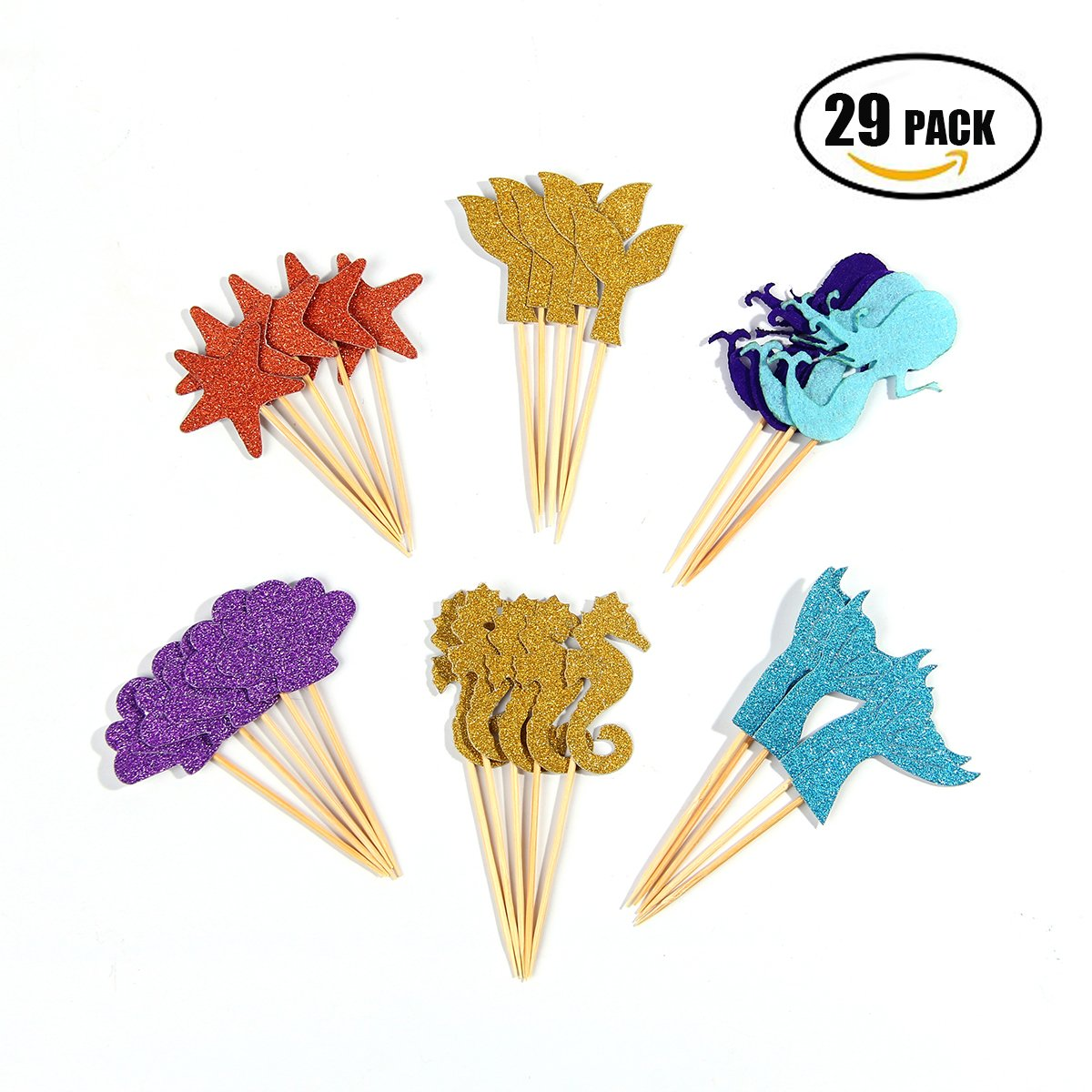 Mermaid Cupcake Topper, Food Picks Girls Birthday Party Decor Cupcake Party Picks, 29
