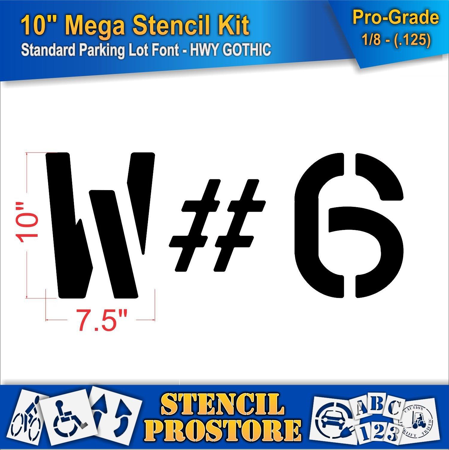 Pavement Stencils -10 inch MEGA Alpha/NUM Set - (64 Piece) - 10'' x 7.5'' x 1/8'' (128 mil) - Pro-Grade by Stencil ProStore (Image #3)