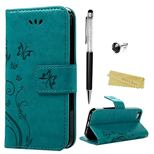 103 opinioni per Mavis's Diary iPhone SE / 5 / iPhone 5S Cover Pelle Blu, Retro Fiore Modello