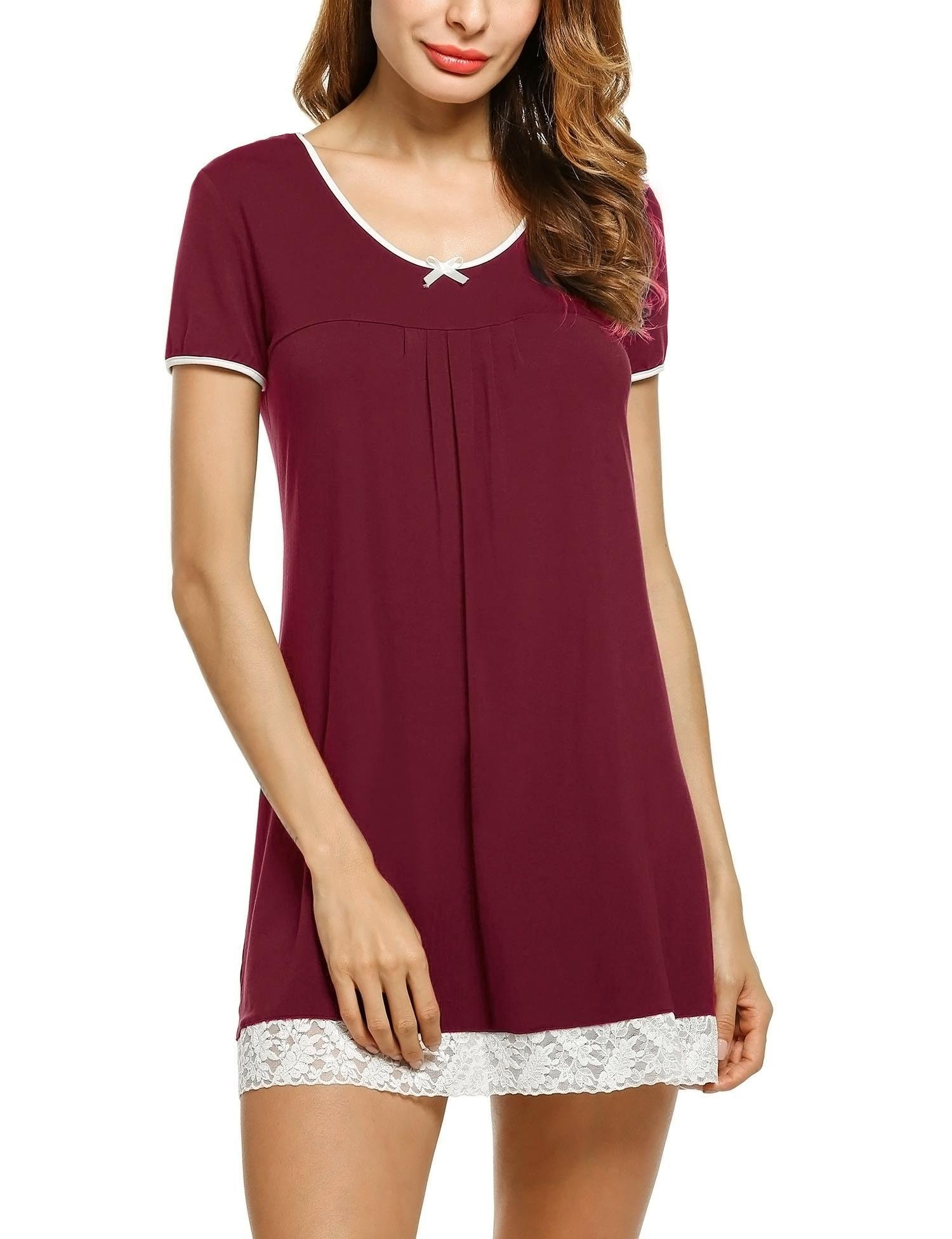 HOTOUCH Womens Cotton Nightshirts Light Weight Night Gown Nursing Shirts Wine Red M