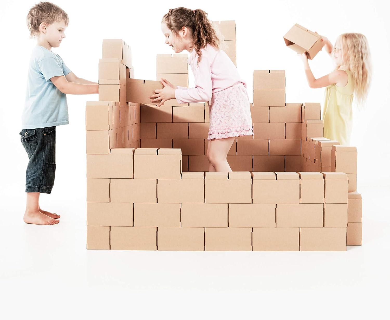 GIGI, Bloks Bloques de Construcción Gigantes de Cartón, Juegos de Construcción para Niños, 100 Piezas XXL, Kits de Ladrillos Para Grandes Construcciones Infantiles de Castillos y Torres Grandes, G1