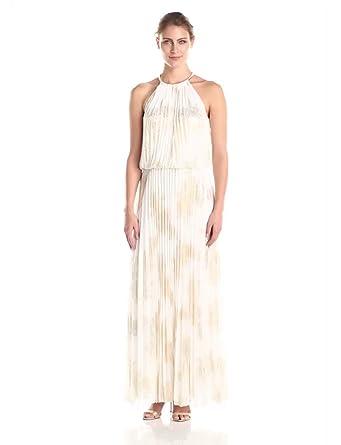 Chain Halter Maxi Long White Dress