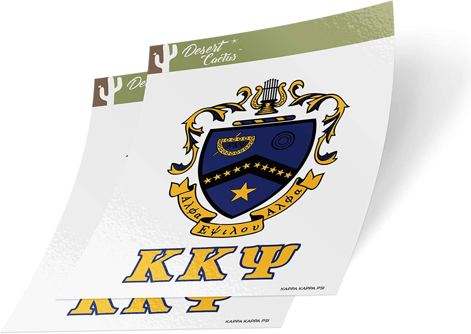 Desert Cactus Kappa Kappa Psi Letter 2-Pack Decal Greek for Window Laptop Computer Car KKPsi (Crest Sticker)