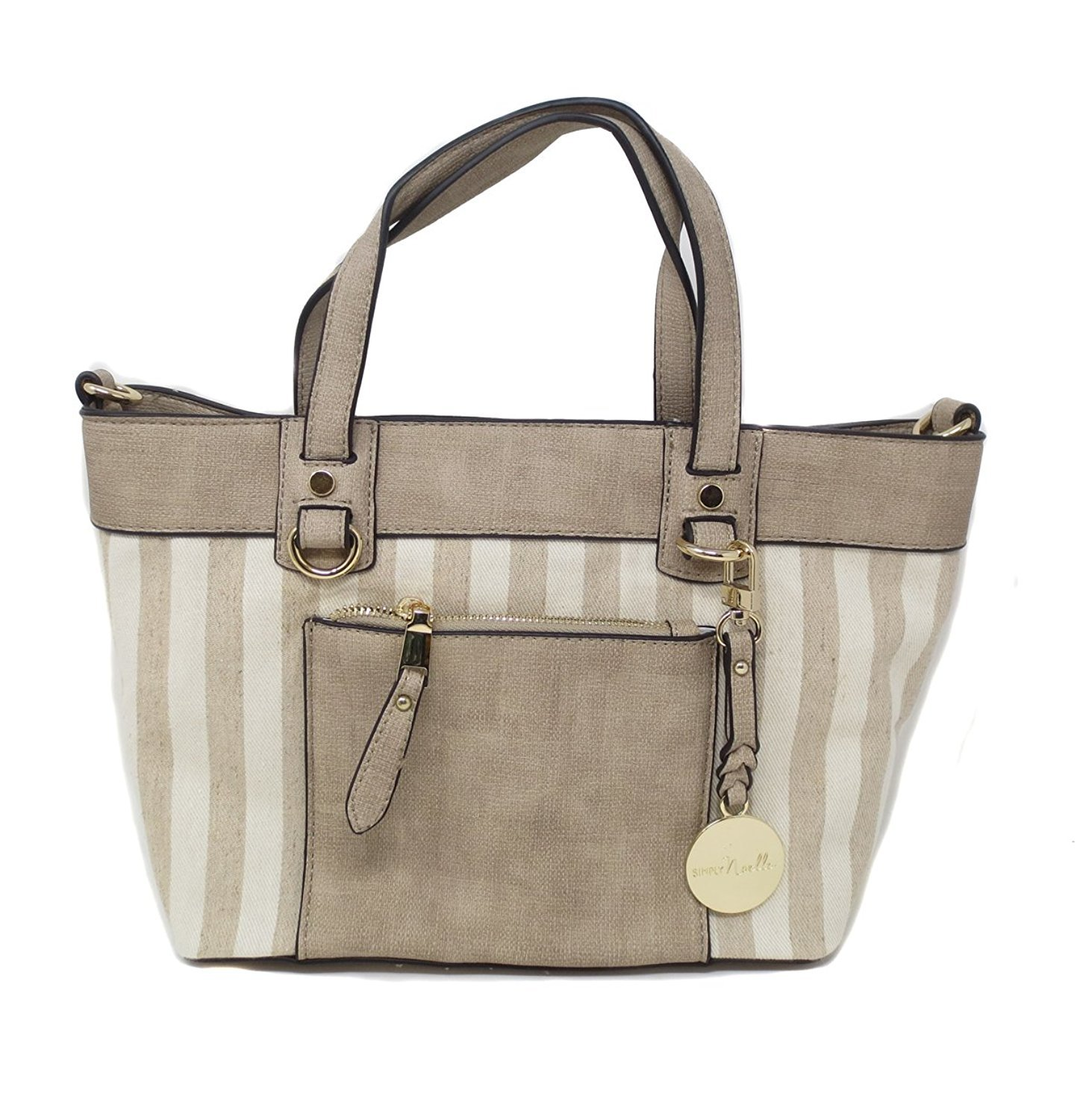 Simply Noelle Antiqua Textured Canvas and Vegan Faux Leather Mini Satchel Handbag (Stripe)