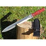 Martinez Albainox Saufeder Olivenholz Jagd-Dolch mit Lederscheide 31667