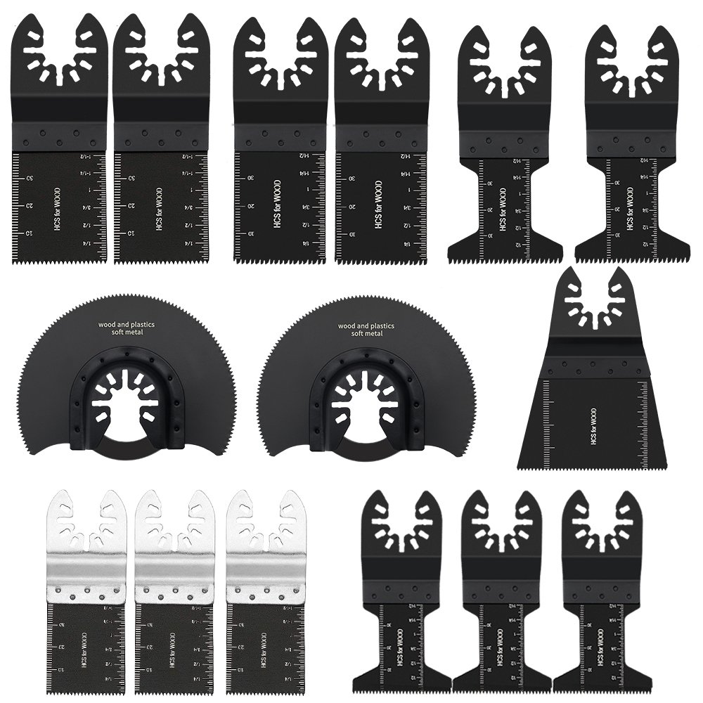 15pack Wood/Metal Oscillating Multi Tool Quick Release Saw Blades for Dewalt, Craftsman, Ridgid, Milwaukee, Rockwell, Ryobi and More (15pack)