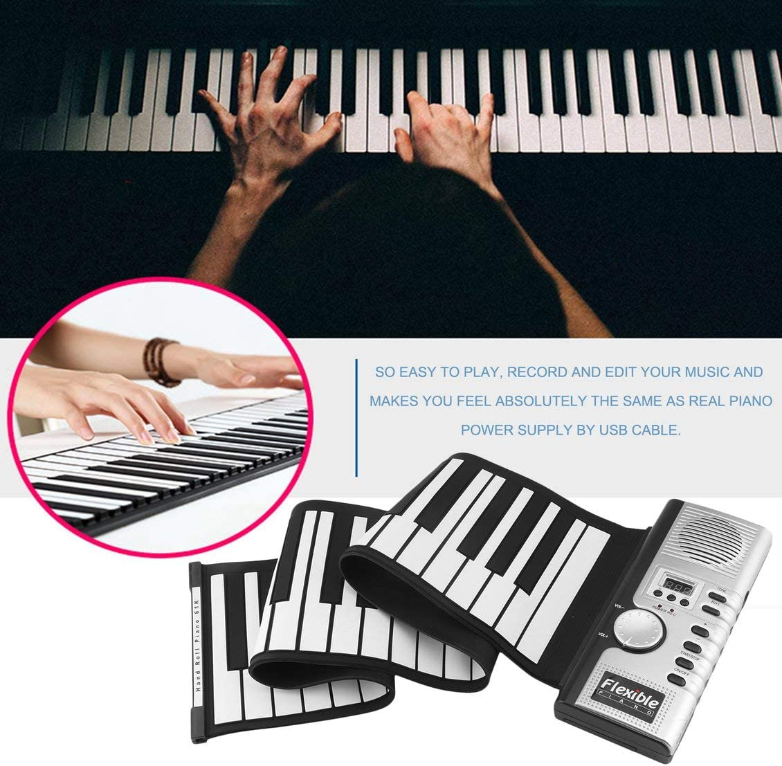fghdfdhfdgjhh 61 Teclas 128 Tonos Roll Up Piano Electrónico ...