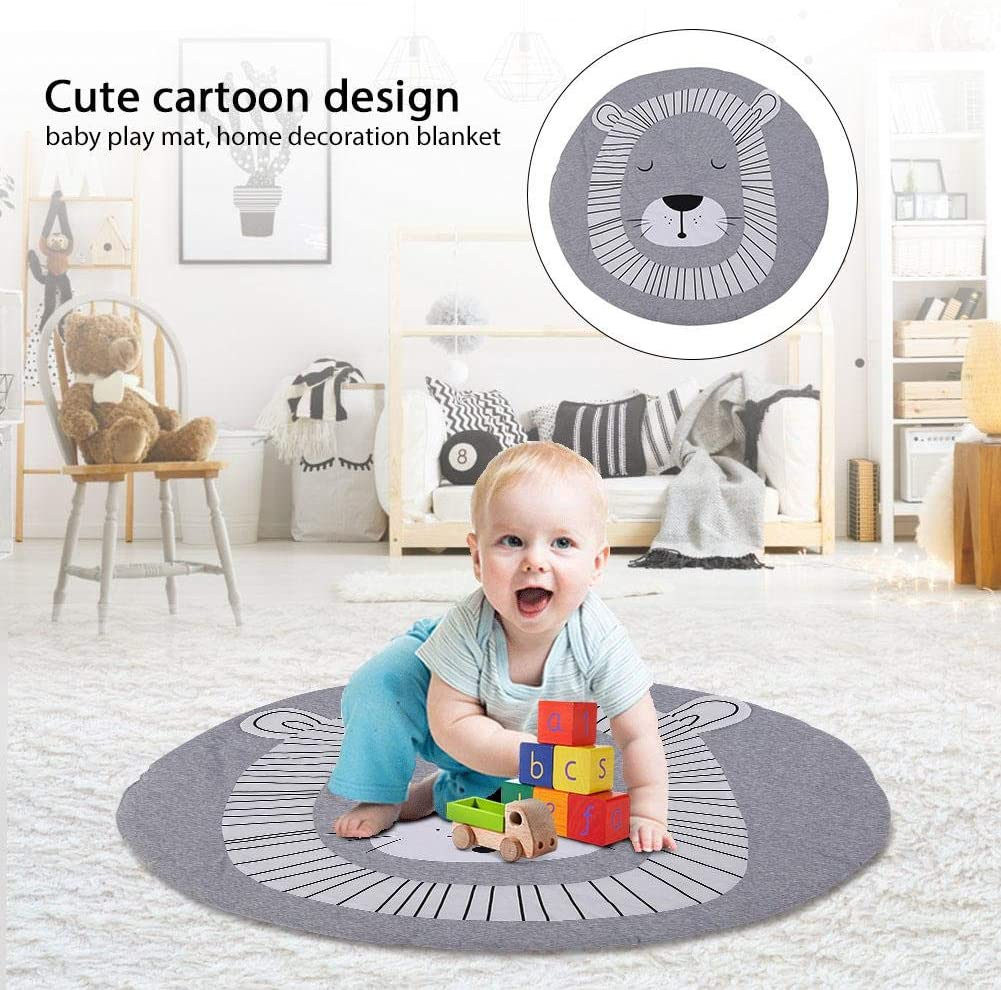 Cartoon Round Animal Pattern Play Rugs Soft Cotton Baby Toddler Play Mat Crawling Blanket for Baby Girl Boy Bedroom Decor Gray Lion