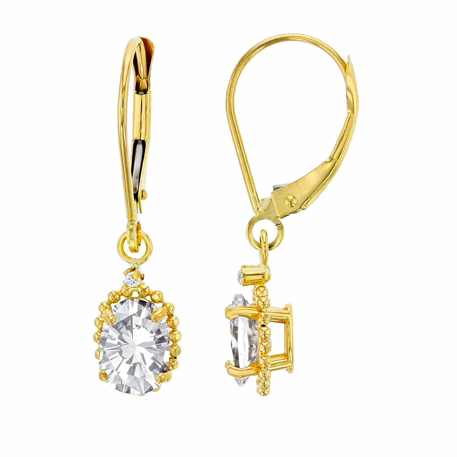 10K Yellow Gold 1.25mm Round White Topaz /& 6x4mm Oval Gemstone Bead Frame Drop Leverback Earring