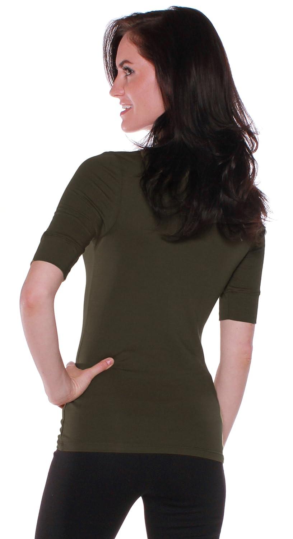 f792b84f468 Amazon.com  Emmalise Women s Cotton Blend V Neck Tee Shirt Half Sleeves -  Junior and Plus Sizes  Clothing