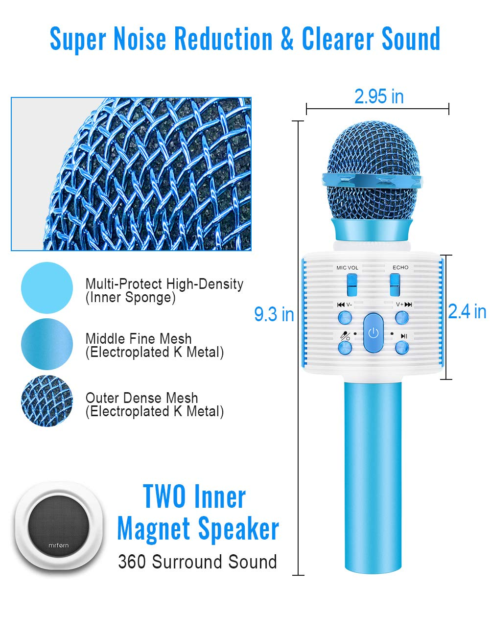 Wireless Karaoke Microphone with Speaker Pro, 3-in-1 Portable Handheld Karaoke Mic Home Party Birthday Gifts for Kids Speaker Machine for Android/ PC /phone(Blue) by weird tails (Image #4)