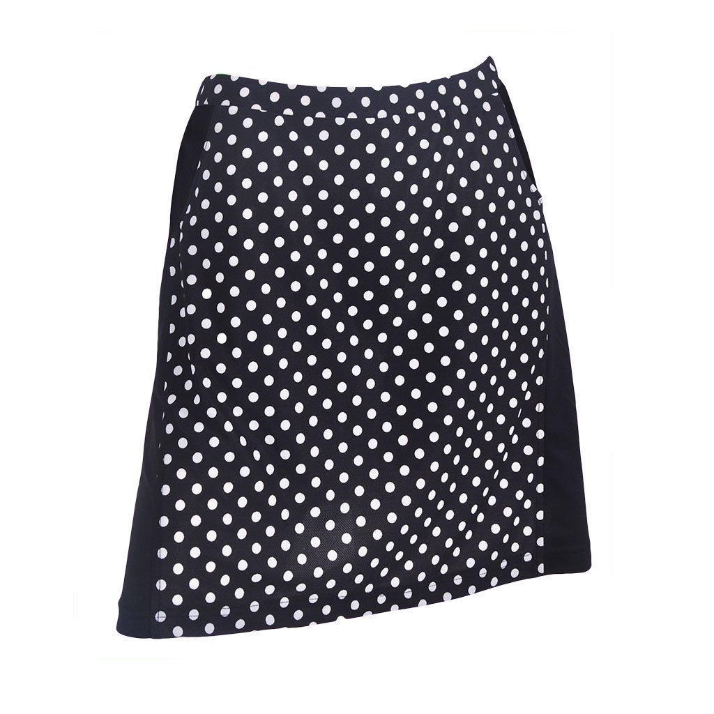 Monterey Club Ladies Contrast Side Flurry Pull-on Knit Skort #2922 (Black/White, Large) by Monterey Club (Image #1)