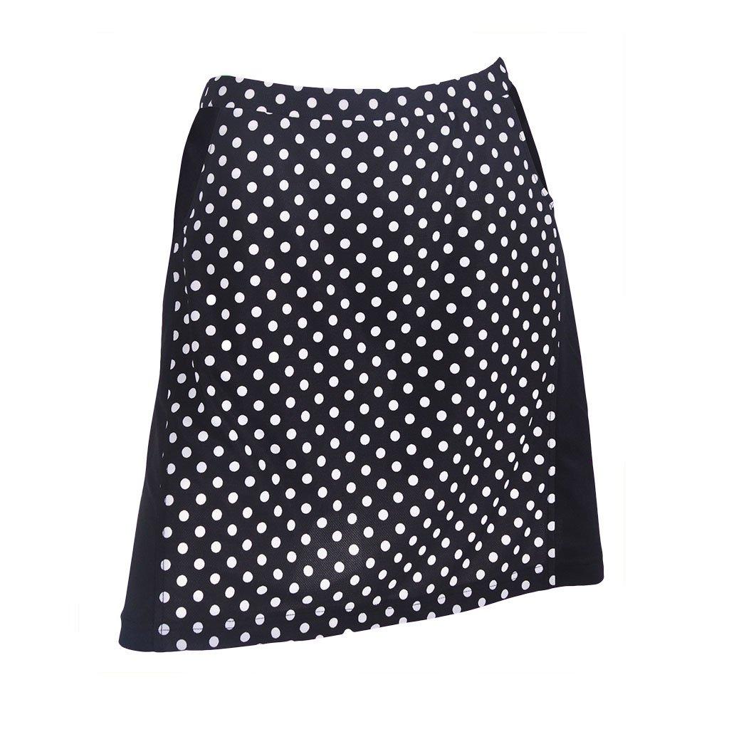 Monterey Club Ladies Contrast Side Flurry Pull-on Knit Skort #2922 (Black/White, Large)