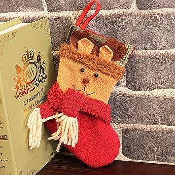 JIBO Navidad Calcetines Mini Decoración De La Escena Bolsa De Regalo Bolsa De Caramelo Adornos para El Árbol De Navidad Suministros De Vacaciones Accesorios ...