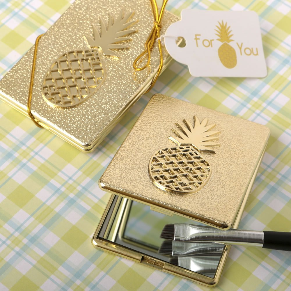 FavorOnline Pineapple Themed Warm Welcome Collection Gold Compact Mirror, 40