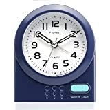 Plumeet Twin Bell Alarm Clock for Kids, Silent Non-Ticking Cartoon Quartz Loud Alarm Clock for Girls, Cute, Handheld Sized, Backlight, Battery Operated (blue2)