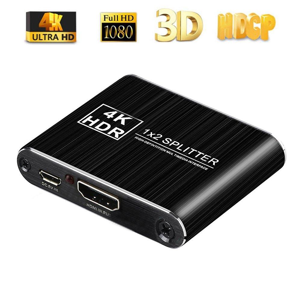 HDMI Splitter - Airena 1 In 2 Out HDMI Splitter | Premium Aluminum Surface | Support 4K@30HZ /3D/ 1080P for Roku 4/ HDTV/Ultra Projector/ PS4/PS3/ Xbox/Blu-Ray DVD/PC and More