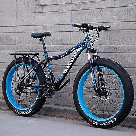 AISHFP Mens Fat Tire Bicicletas de montaña, la Playa de Moto de Nieve, de Peso Ligero de Alta de Acero al Carbono Bastidor de la Bicicleta, 24 Pulgadas Ruedas,Azul,21 Speed: Amazon.es: Deportes