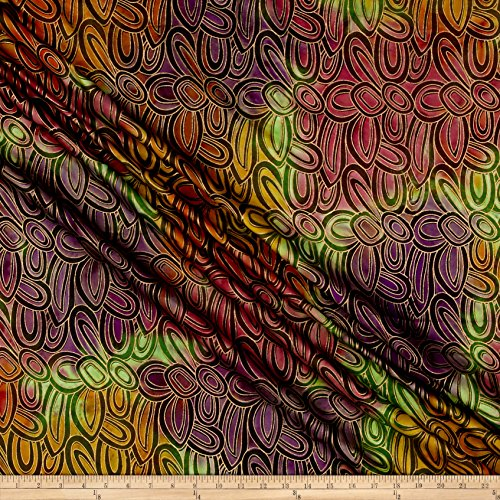 Textile Creations Indian Batik Montego Bay Gold Circles Green/Wine Metallic Fabric by The Yard,