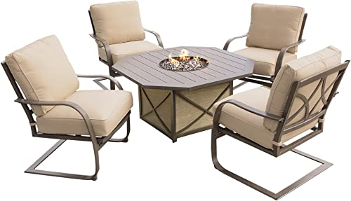 Oakland Living AZZ8299GST-8657SC4-5-ET Aluminum Fire Table Set