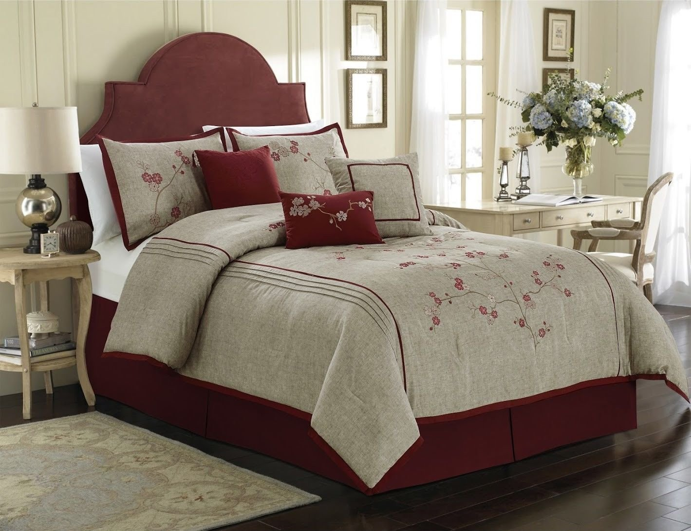 7 Pc Miki Luxury Red Cherry Blossoms Floral Embroidery Bedding Comforter Set
