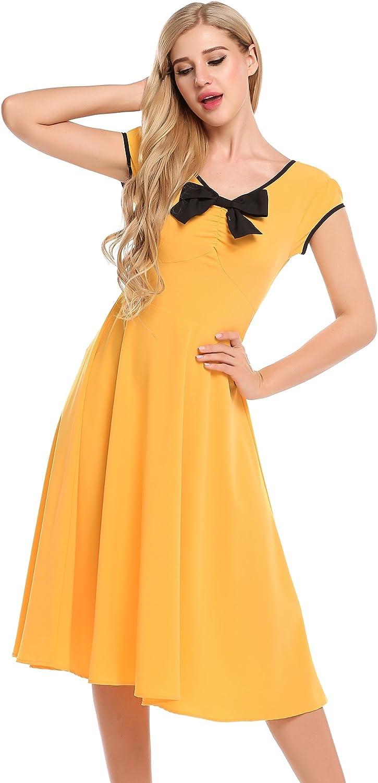 ACEVOG Damen Retro Vintage Kleid V Ausschnitt Kurzarm Sommerkleid Midi Kleider Partykleider Cocktailkleider mit Schleife