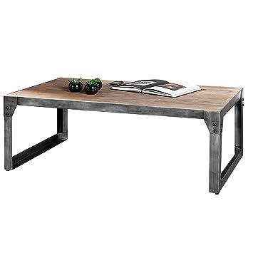 Design Couchtisch INDUSTRIAL 110cm Teak Grau Akazie Massivholz Gekälkt Mit  Metallgestell Wohnzimmer Holztisch