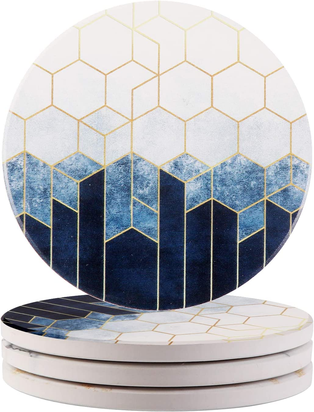 Ailsan Coasters for Drinks Round Absorbent Coasters Set of 4 Navy Blue Diamond Geometry Marble Style Ceramic Stone Coasters with Cork Base 4 inches Housewarming Gift for Home and Kitchen