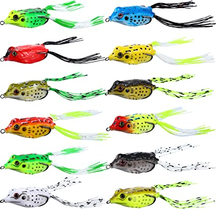 Formulaone Artificial Soft Fishing Baits Lures Lifelike Frog Lures with Two Hooks Topwater Ray Frog Baits Outdoor Fishing Tackle/—random