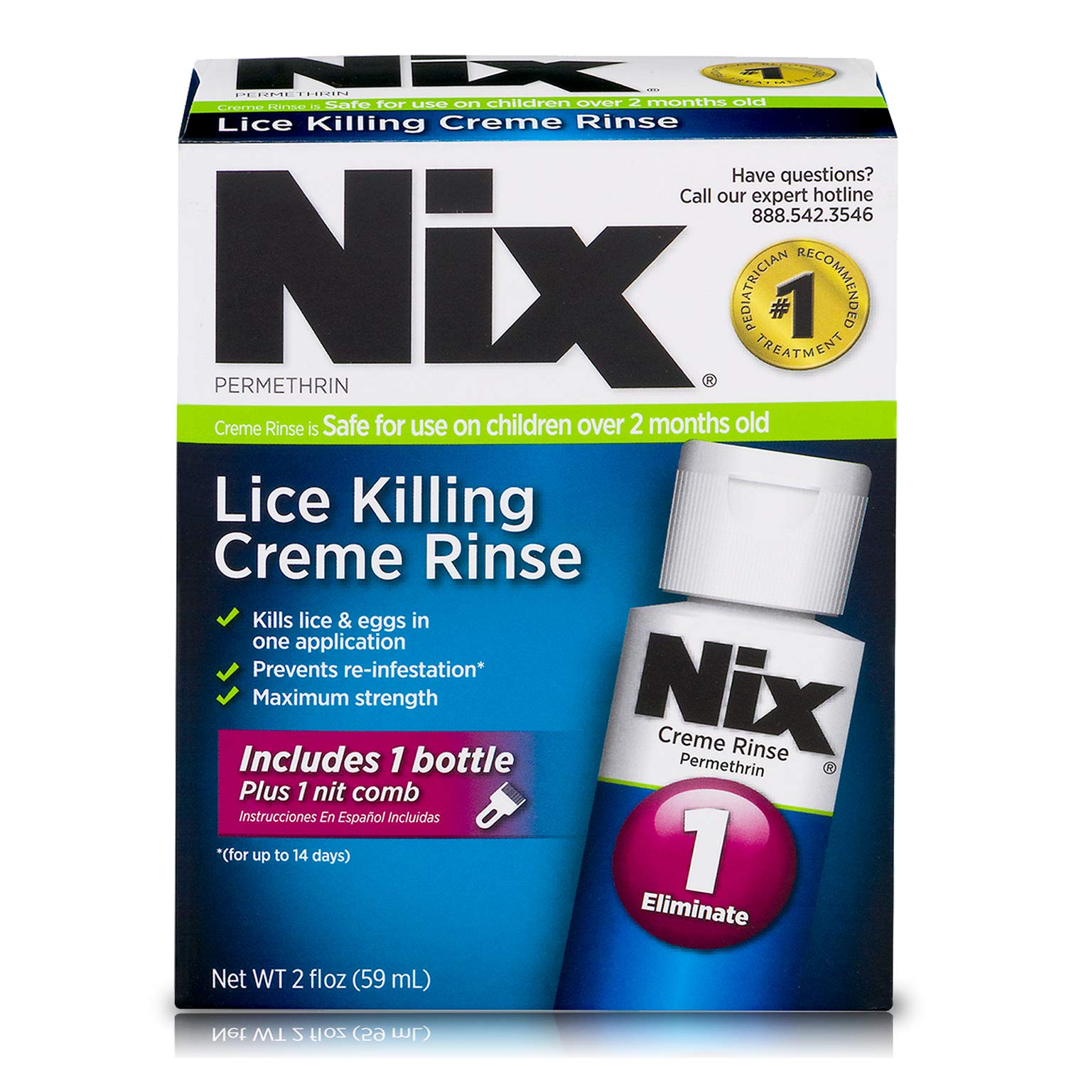 Nix Lice Killing Creme Rinse, 2 oz and Nit Comb to Remove Lice & Eggs from Hair
